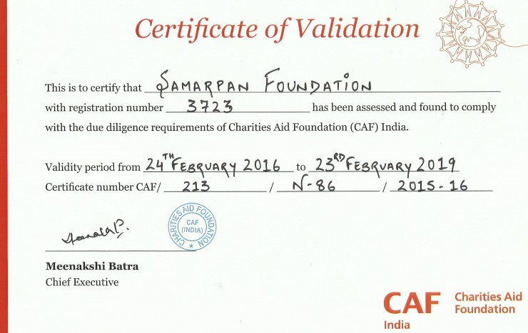 Samarpan Foundation validated by Charities Aid Foundation (CAF) India